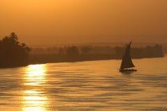 Puesta del sol de la navegación Foto de archivo libre de regalías