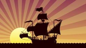 Puesta del sol de la navegación de la nave libre illustration