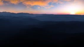 Puesta del sol de la niebla del barranco Fotos de archivo libres de regalías
