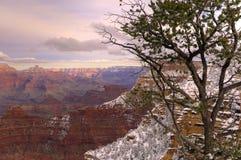 Puesta del sol de la nieve de la barranca magnífica Fotos de archivo libres de regalías