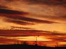 Puesta del sol de la opinión de la antena fotografía de archivo