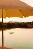 Puesta del sol de la piscina Imagen de archivo