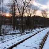 Puesta del sol de la pista Foto de archivo libre de regalías