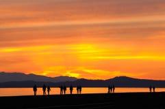 Puesta del sol de la playa Foto de archivo libre de regalías