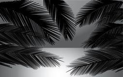 Puesta del sol de la playa con el ejemplo del vector de las palmas fotos de archivo libres de regalías