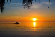 Puesta del sol de la playa con las siluetas de hoja de palma Paisaje tropical de la puesta del sol con el barco en agua Imagen de archivo libre de regalías