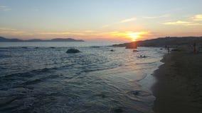 Puesta del sol de la playa de Arinella Imagen de archivo