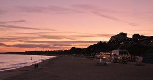 Puesta del sol de la playa de Bournemouth Foto de archivo