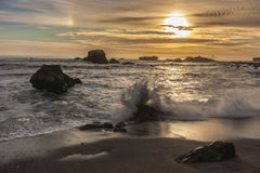 Puesta del sol de la playa de California Foto de archivo