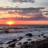 Puesta del sol de la playa de Cape Cod Imagen de archivo