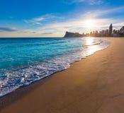 Puesta del sol de la playa de Poniente del playa de Benidorm Alicante Fotografía de archivo