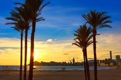 Puesta del sol de la playa de Poniente del playa de Benidorm Alicante Foto de archivo libre de regalías
