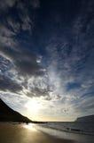 Puesta del sol de la playa de Westfjords Fotografía de archivo libre de regalías