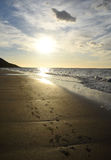 Puesta del sol de la playa de Westfjords Imágenes de archivo libres de regalías