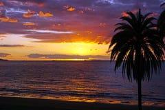 Puesta del sol de la playa del océano de South Pacific Foto de archivo libre de regalías