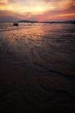 Puesta del sol de la playa del paraíso Foto de archivo libre de regalías