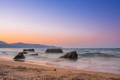 Puesta del sol de la playa del verano Fotografía de archivo libre de regalías