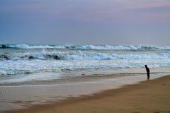 Puesta del sol de la playa en la India Imágenes de archivo libres de regalías