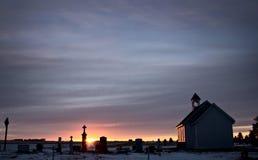 Puesta del sol de la pradera de Saskatchewan Imagenes de archivo