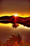 Puesta del sol de la presa de Spelga Imagenes de archivo