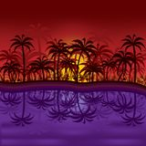 Puesta del sol de la selva stock de ilustración