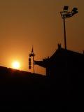 Puesta del sol de la silueta de la pared de la ciudad de Xian Imagen de archivo libre de regalías