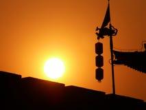 Puesta del sol de la silueta de la pared de la ciudad de Xian Fotos de archivo