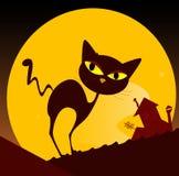 Puesta del sol de la silueta y de la ciudad del gato negro Imagen de archivo libre de regalías