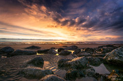 Puesta del sol de la tarde Imagen de archivo