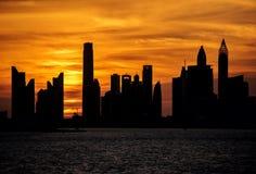 Puesta del sol de la terraza de Dubai Foto de archivo