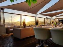 Puesta del sol de la terraza del tejado Imagen de archivo