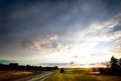 Puesta del sol de la tormenta de Saskatchean Foto de archivo libre de regalías