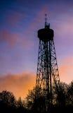 Puesta del sol de la torre de Aalborg Fotografía de archivo libre de regalías