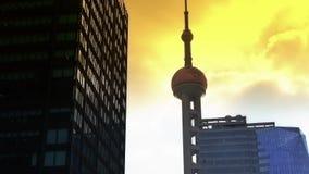 Puesta del sol de la torre de la perla TV de Shangai Oriente almacen de video