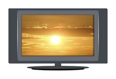 Puesta del sol de la TV stock de ilustración