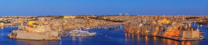Puesta del sol de La Valeta en Malta Fotografía de archivo libre de regalías