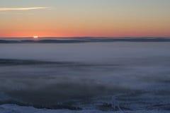 Puesta del sol de Laponia foto de archivo libre de regalías