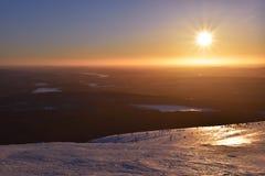 Puesta del sol de Laponia fotos de archivo libres de regalías