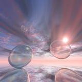 Puesta del sol de las burbujas Foto de archivo libre de regalías