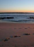 Puesta del sol de las personas que practica surf foto de archivo libre de regalías