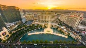 Puesta del sol de Las Vegas Bellagio imagen de archivo libre de regalías