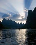 Puesta del sol de Li River Imagen de archivo libre de regalías