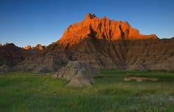 Puesta del sol de los Badlands Fotos de archivo