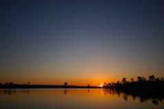 Puesta del sol de los marismas Fotografía de archivo libre de regalías