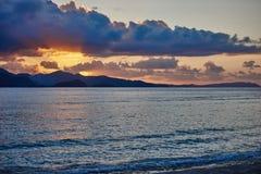 Puesta del sol de los paisajes marinos de Palawan Filipinas Foto de archivo libre de regalías