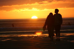 Puesta del sol de los pares @ foto de archivo libre de regalías