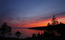 Puesta del sol de Maine Imagen de archivo libre de regalías