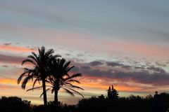 Puesta del sol de Mallorca Fotos de archivo
