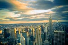 Puesta del sol de Manhattan Foto de archivo