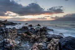 Puesta del sol de marea de la piscina de Maui Fotografía de archivo libre de regalías